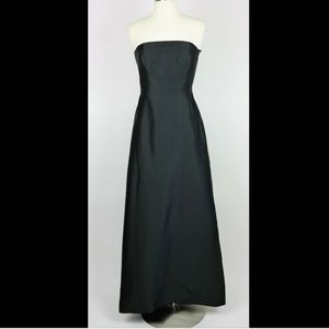 ANN TAYLOR Black strapless silk A line long dress
